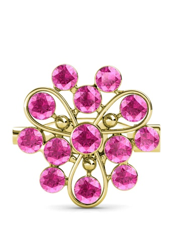 Her Jewellery gold Vanda Brooch (Rose) - Made with premium grade crystals from Austria AC80AAC6638301GS_1