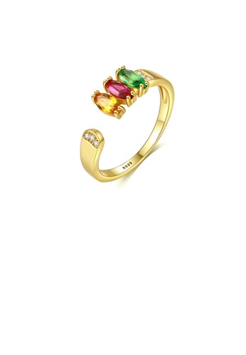 Glamorousky multi 925 Sterling Silver Plated Gold Simple and Elegant Geometric Adjustable Open Ring with Colorful Cubic Zirconia 79A86ACBC50311GS_1