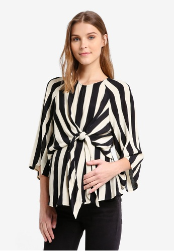 TOPSHOP black Maternity Humbug Knot Blouse TO412AA0T0W7MY_1