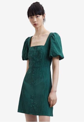 Urban Revivo green Lantern Sleeve Treasure Dress 7C37FAAC78C446GS_1