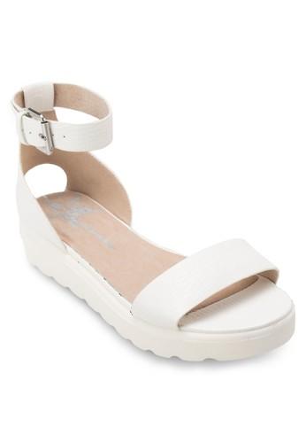 素色繞踝厚底涼鞋,zalora 台灣 女鞋, 鞋