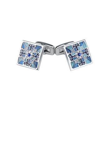 Glamorousky 藍色 時尚優雅藍色花紋幾何方塊袖扣 BCA8DAC50F450AGS_1