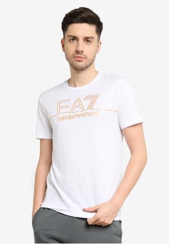 EA7 white Train Gold Label Pima Cotton Big Logo Tee 49D51AA7A9B768GS_1