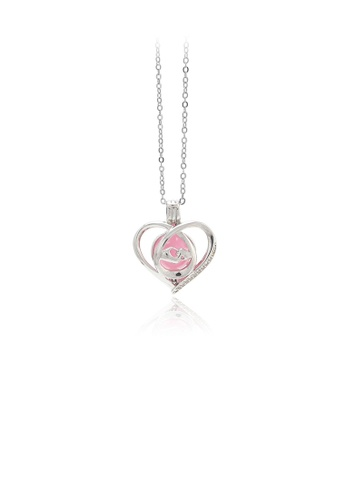 Glamorousky pink 925 Sterling Silver Simple Romantic Heart-shaped Pink Round Bead Pendant with Necklace 6D9A4AC2FF1BCBGS_1
