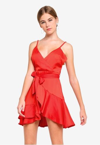 INDIKAH red Surplice Neck Tiered Ruffle Skater Dress 84B3BAA8901F72GS_1