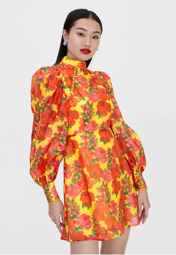 Pomelo yellow Eyelet Detail Long Sleeve Dress - Yellow C36E5AAA8E67B4GS_1