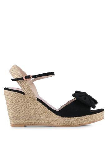 Velvet black Bow Detail Ankle Strap Espadrille Wedges A1EE7SHA3CC160GS_1