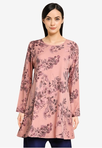 Aqeela Muslimah Wear pink and orange Floral Blouse 101DBAA2260522GS_1