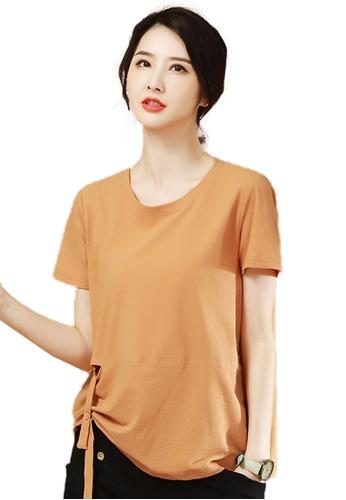 A-IN GIRLS 褐色 百搭純色短袖T恤 390CFAABE0DCA6GS_1