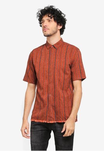 ZALORA red and multi Striped Frayed Hem Short Sleeve Shirt F2D01AA42B8C93GS_1