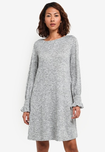 Wallis grey Grey Cuff Knitted Shift Dress 6AD87AA2156F95GS_1