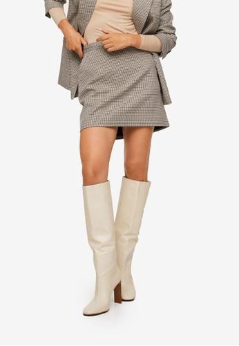Mango brown Check Design Skirt 31C76AA754F3A5GS_1