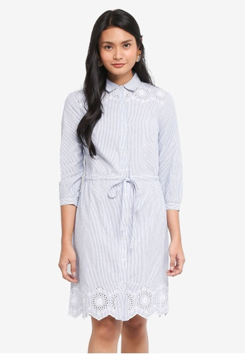 Dorothy Perkins navy Stripe Broderie Shirt Dress 69448AA2584C17GS_1