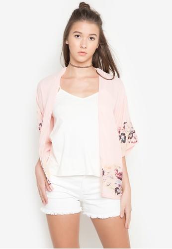NEXT pink Floral Sheer Kimono B9D5BAA15C487DGS_1