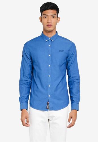 Superdry blue Premium Button Down Long Sleeve Shirt E9E4AAAE221ABCGS_1
