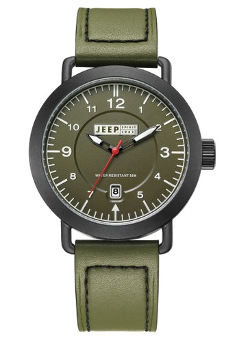 Jeep Spirit Mutifunction Men's Watch JPS50305 Black Army Green Leather