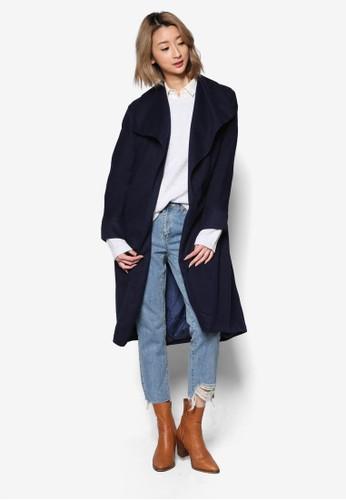 寬翻領腰帶長版外套, 服飾,zalora 心得 ptt 外套