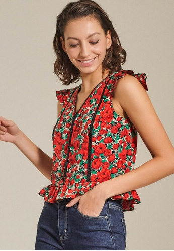Dressing Paula red Floral Ruffled Rayon Top E6618AAD8C273BGS_1