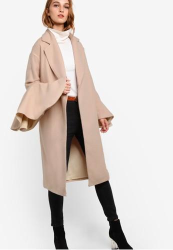 不對稱荷葉長袖長版外套esprit outlet 桃園, 服飾, 外套
