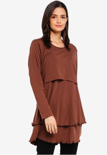 Aqeela Muslimah Wear brown Layered Nursing Top 65843AA823A1EAGS_1