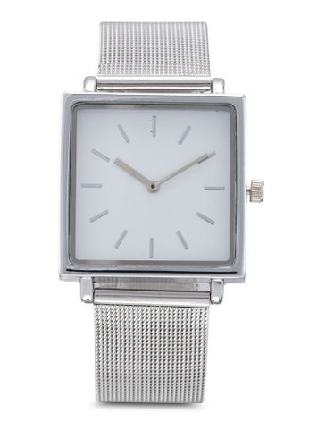NUVEAU silver Square Face Silver White Mesh Strap Watch 80EECAC4952E98GS_1
