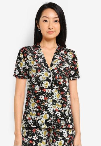 ZALORA BASICS black and multi Lounge Lightweight Pyjama Shirt E46B7AA389F1BBGS_1