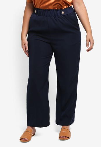 ELVI blue and navy Plus Size Military Trousers EL779AA0T1PGMY_1
