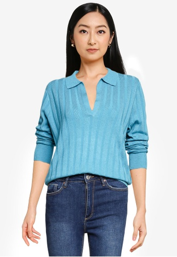 Forever New blue Isla Cinched Polo Knit Jumper CB2E9AACF44B69GS_1