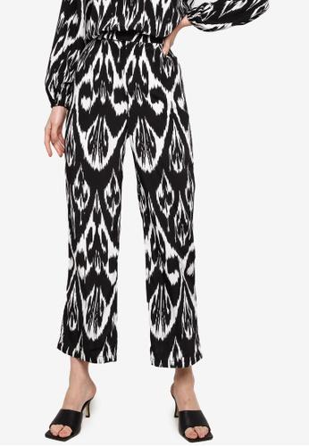 Zalia black Printed Straight Cut Pants B2CDBAA7231E46GS_1