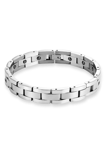 CUFF IT silver Stainless Steel Therapy Magnets Bracelet A4151ACA4A0546GS_1