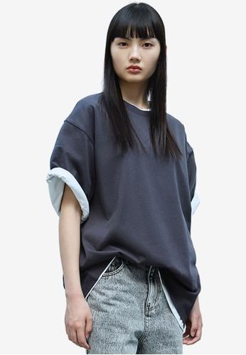 Urban Revivo grey Oversized T-Shirt 846E3AA7E97387GS_1