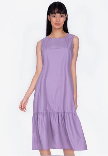 ZALORA BASICS 紫色 Midi Fril Hem Dress 8BD80AAB895A67GS_1