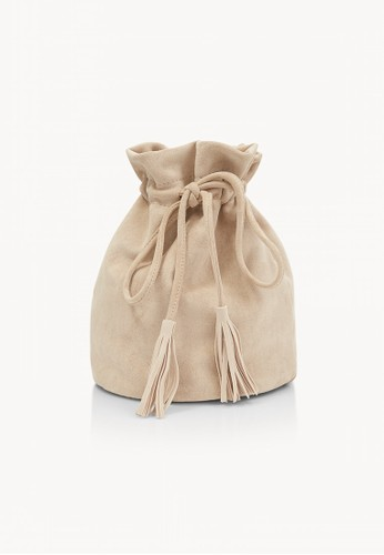 Pomelo beige Suede Crossbody Drawstring Bag - Cream D93F8ACD09298AGS_1
