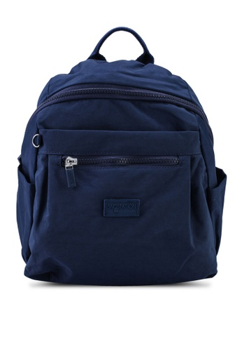 Bagstationz navy Crinkled Nylon Small Backpack ABEB5AC6CCC171GS_1