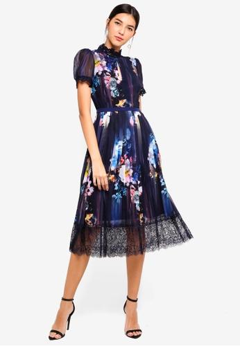Little Mistress navy Floral Blur Midi Dress C9D54AA922E71CGS_1
