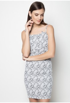 Lace Print Bodycon Dress