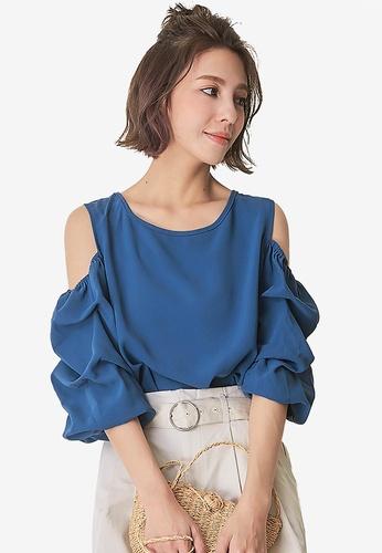 Kodz blue Open-Shoulder Puff Sleeve Top EAB15AABAACCD8GS_1