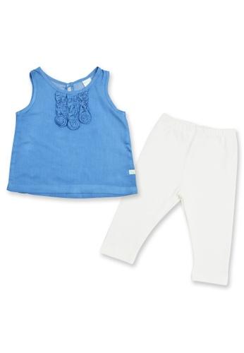 Tiny Tummies white and blue Chambray Blouse With Plain White Leggings 6D378KABBF7EC4GS_1