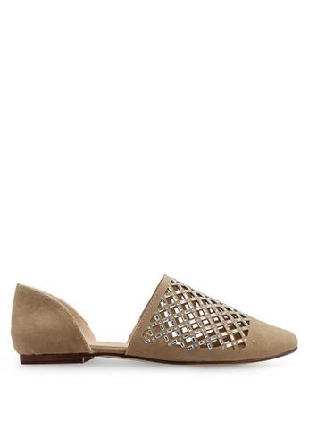 Keddo 米褐色 雕紋平底鞋 AEA01SHFDB5419GS_1