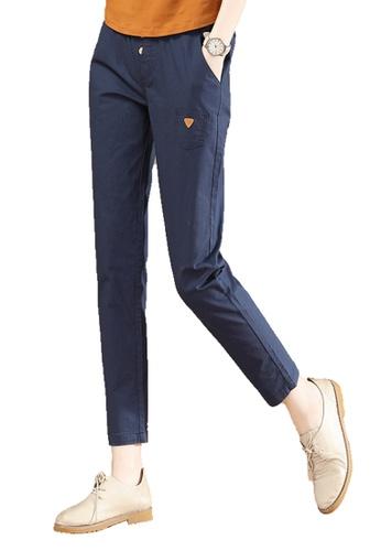 A-IN GIRLS navy Elastic Waist Small Feet Casual Pants 1E063AAD72FBF9GS_1