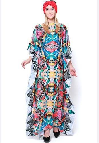 Kanzi by liza yahya multi Kanzi Exclusive Short Sleeve Abstract Kaftan 35F8CAAE8065A6GS_1