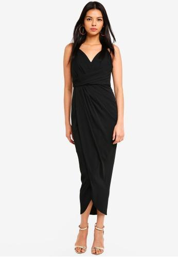 Forever New black Charlotte Drape Maxi Dress 10E2BAA516F891GS_1