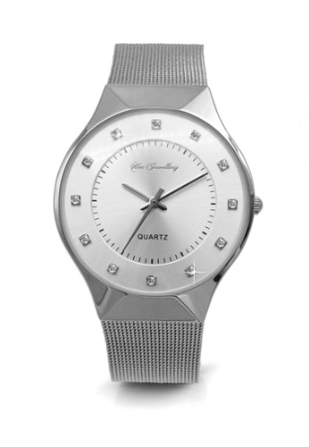 Her Jewellery silver Swarovski® Crystals - Classic Mesh Watch (18K White Gold Plated) Her Jewellery HE581AC0RCC3MY_1