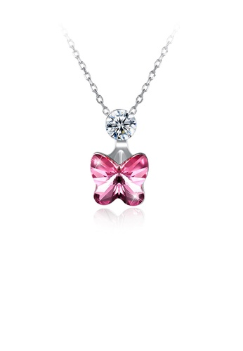 Glamorousky pink 925 Sterling Silve Sparkling Elegant Noble Romantic Sweet Pink Butterfly Pendant andNecklace with Austrian Element Crystal C0D47AC03CB185GS_1