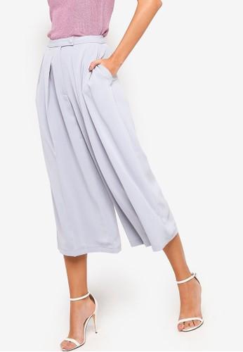 Lavish Alice grey Wide Leg Culotte Trousers Wiith Volume Pleats C4B6DAAD52534DGS_1