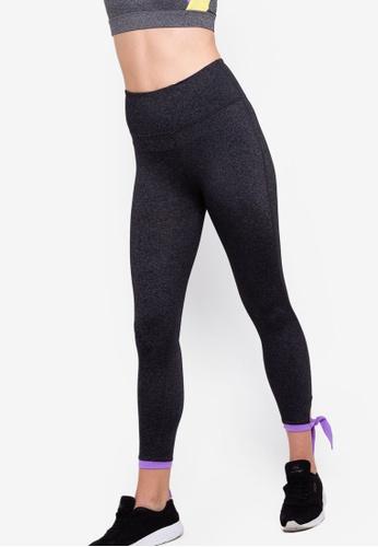 Cotton On Body black and purple Highwaist Side Tie 7 Tights DBCB1AA8934D55GS_1