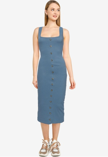 MISSGUIDED 藍色 Tortoiseshell 鈕釦 Midaxi 洋裝 03CEAAABB39CABGS_1
