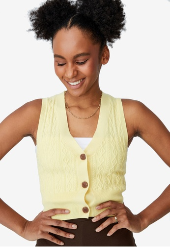 Cotton On yellow Easy Cropped Button Vest E4133AAC0112ACGS_1