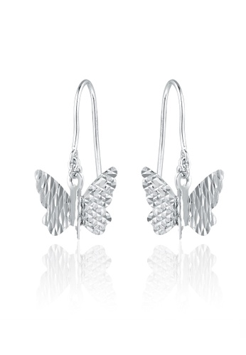 MaBelle silver 14K White Gold Faceted Dangling Butterfly Earrings MA584AC25IGOHK_1