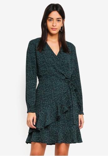 Modstrom green Jerkins Print Wrap Dress EACFBAA5D1A3E5GS_1